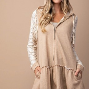 Taupe & Lace Ruffle Hoodie