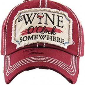Wine O'Clock Vintage Hat - Burgundy