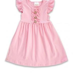 Girls Pink Angel Sleeve Ruffle Dress