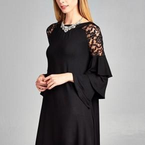 Lace Shoulder Ruffle Sleeve Dress