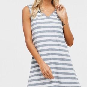 Striped Knit Hoodie Dress