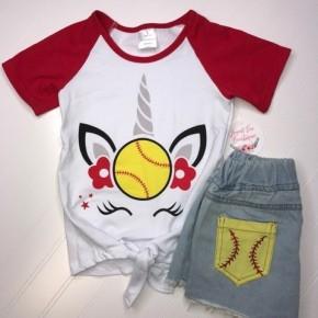 Unicorn Softball Tee & Shorts Set