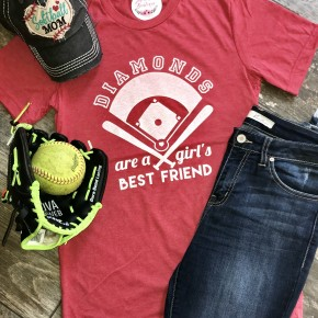 Diamonds are a Girl's Best Friend Tee - Red