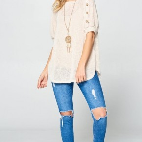 Ivory Knit Top With Button Detail