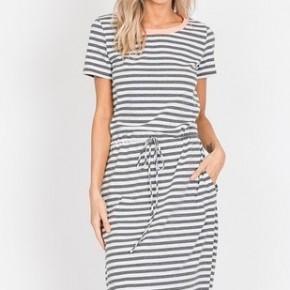 Grey Stripe Dress with Belt