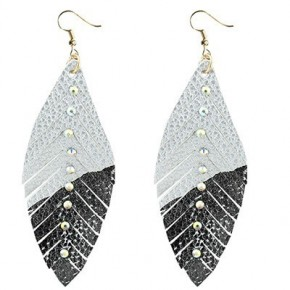 Black & Silver Feather Earring with Crystals
