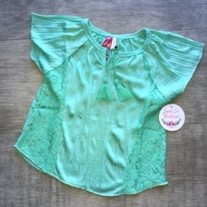 Girls Mint Lace Top with Tassels