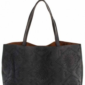 Charcoal Embroidered Tote with Inside Pocket