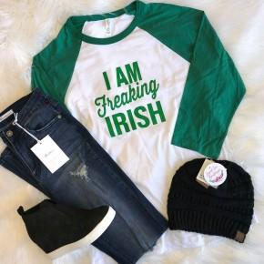 """I Am Freaking Irish"" Raglan Top"