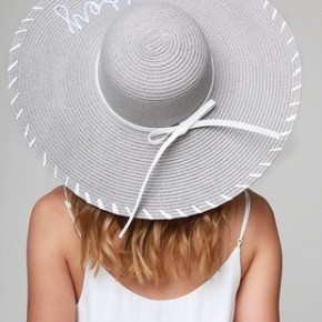"""""""Wifey"""" Embroidery on Natural Straw Sun Hat"""