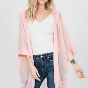 Pastel Pink Sheer Kimono