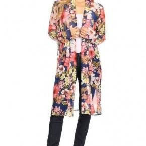Navy Foral Long Kimono