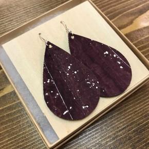 Handmade Merlot Leather Earrings