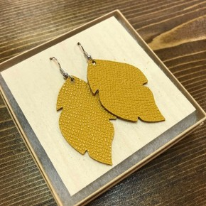 Handmade Mustard Leather Earrings