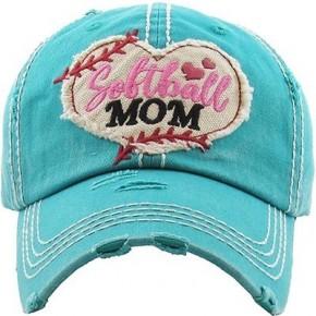 Softball Mom Vintage Hat - Teal