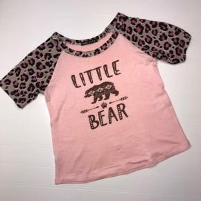 "Kids Pink Leopard ""Little Bear"" Top"
