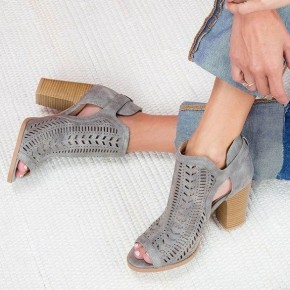 Grey Open Toe Heeled Bootie