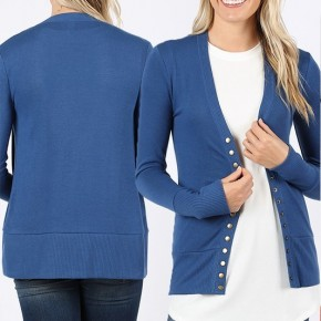 Blue Snap Button Cardigan
