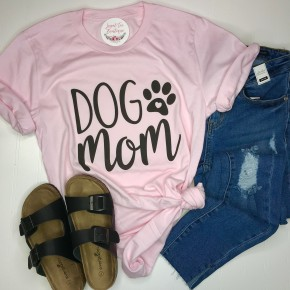 """Dog Mom"" Pink Tee"