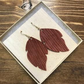 Handmade Leather Rust Earrings