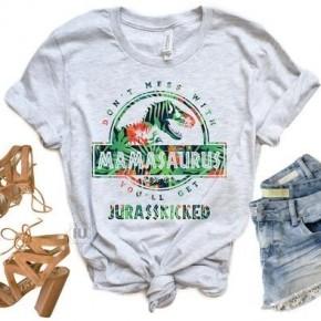 MamaSaurus Heathered Gray Tee
