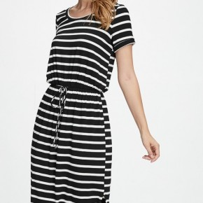 Black and White Striped Knit Dress with Pockets