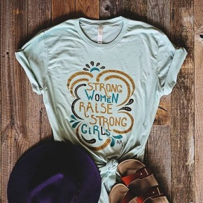 strong women raise (on dusty blue tee)