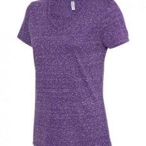 purple v-neck tee