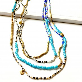 boho layer beaded necklace  (turq)