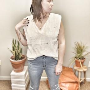 distressed staple sweater vest