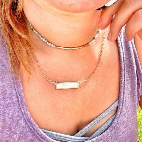 Leah beaded bar necklace
