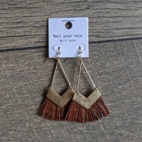 leather like tassel earrings