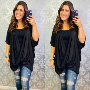 Twisted Front Oversized Hacci Top