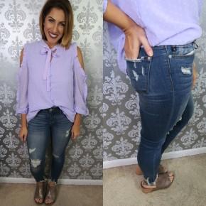 Judy Blue Shark Bite Hem Skinny Jeans
