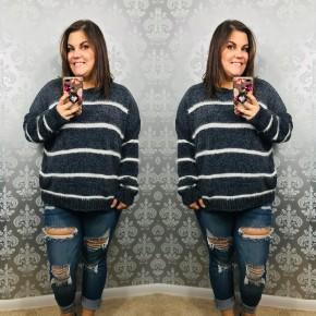 Curvy Striped Super Soft Sweater