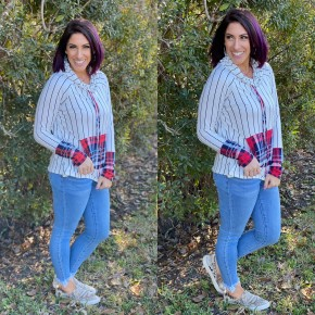 Plaid Cowl Neck Pullover