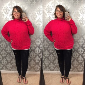 Curvy Mock Neck Cable Knit Pullover Sweater