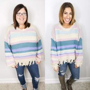 Color Wheel Distressed Sweater