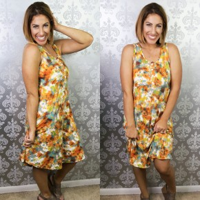 Mustard Tie Dye Button Down Tank Dress