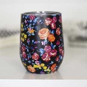 Black Floral Full Wrap Wine Cup