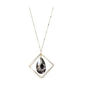 Gold Geometric Necklace with Black Teardrop Diamond