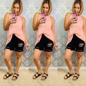 Kancan Distressed Black Shorts