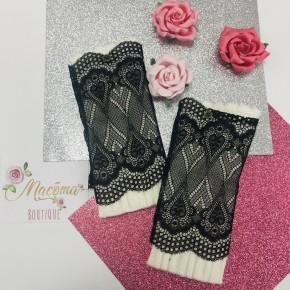 Ivory & Black Lace Layered Boot Cuffs