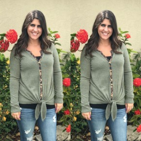 Solid Long Sleeve Top with Leopard Trim and Front Tie