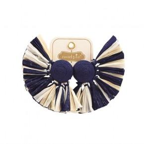 Raffia Fan Earrings Navy