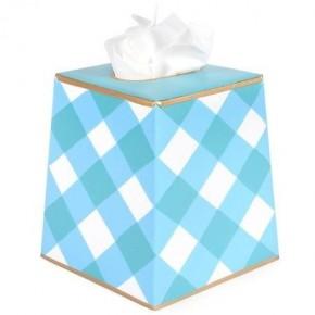 Gingham Blue Tissue Box Cover