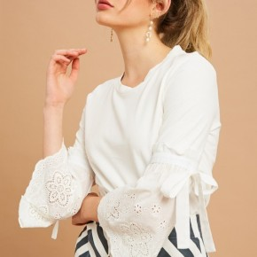 EYELET WIDE SLEEVE TOP *Final Sale*