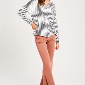 Striped Button Down Blouse Navy Stripe *Final Sale*