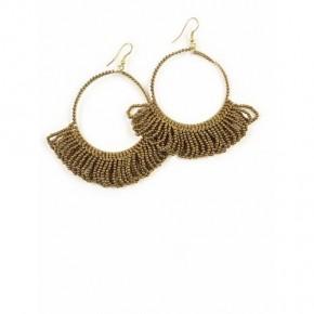 Fringe Hoop Earrings Antique Gold *Final Sale*