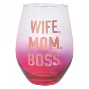 Wife Mom Boss 30 oz Wine Glass